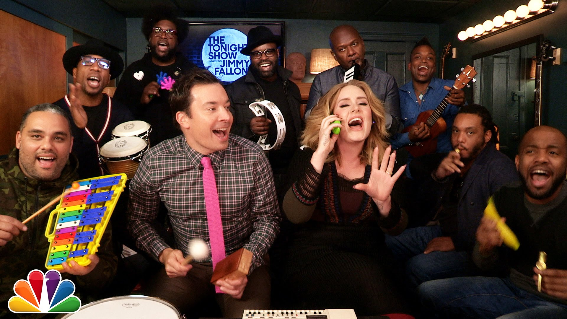 "Adele Joins Jimmy Fallon and The Roots To Perform ""Hello"" With Classroom Instruments"