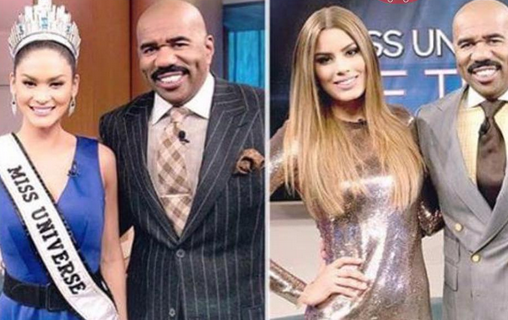 Steve Harvey meets with Miss Universe and Miss Colombia