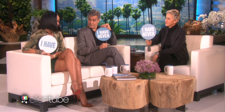 """Rihanna and George Clooney Play """"Never Have I Ever"""" On The Ellen Show And Share Some Of Their Deepest Darkest Secrets"""